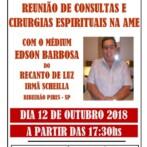 Reunião de Curas e Cirurgias Espirituais com o Médium Edson Barbosa em S.José dos Campos/SP